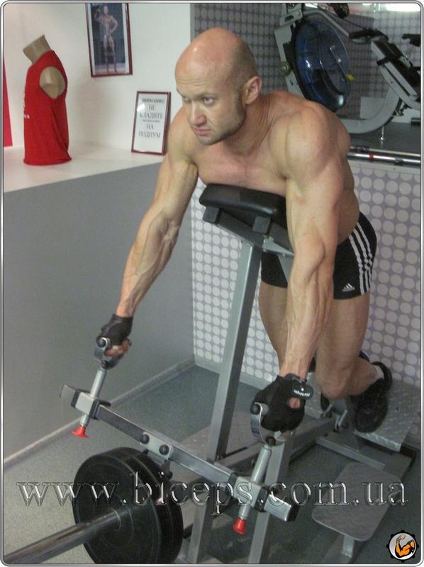 Шраги в тренажере, тяга Т-Грифа с упором грудью
