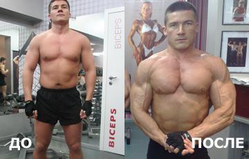 Клиент Юрия до и после тренировок